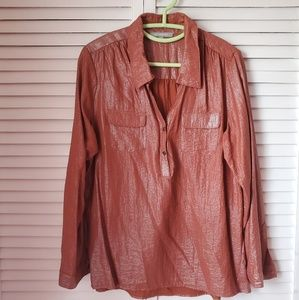 NY Collection bronze sheen loose blouse size L